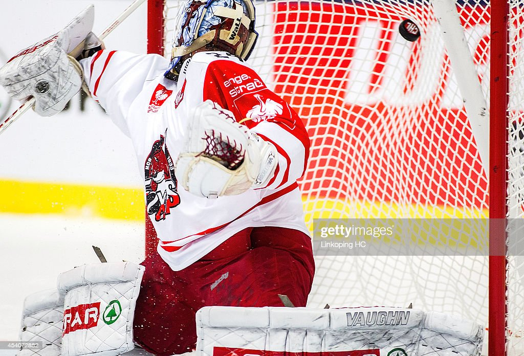 Linkoping HC score a goal against goal tender Jaroslav Hubl #24 of HC Bolzano during the Champions Hockey League group stage game between Linkoping HC and HC Bolzano on August 24, 2014 in Linkoping, Sweden.