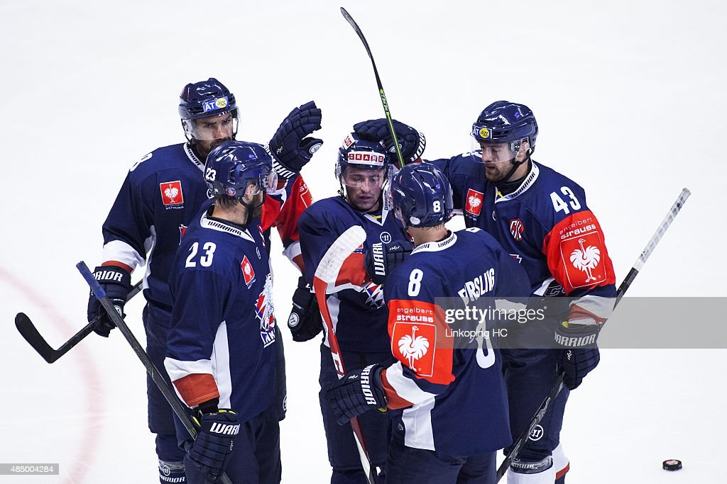 Linkoping HC's Niklas Persson, Gustav Forsling, Nichlas Hardt, Daniel Rahimi and Broc Little celebrates during the Champions Hockey League group stage game between Linkoping HC and SC Bern on August 23, 2015 in Linkoping, Sweden.