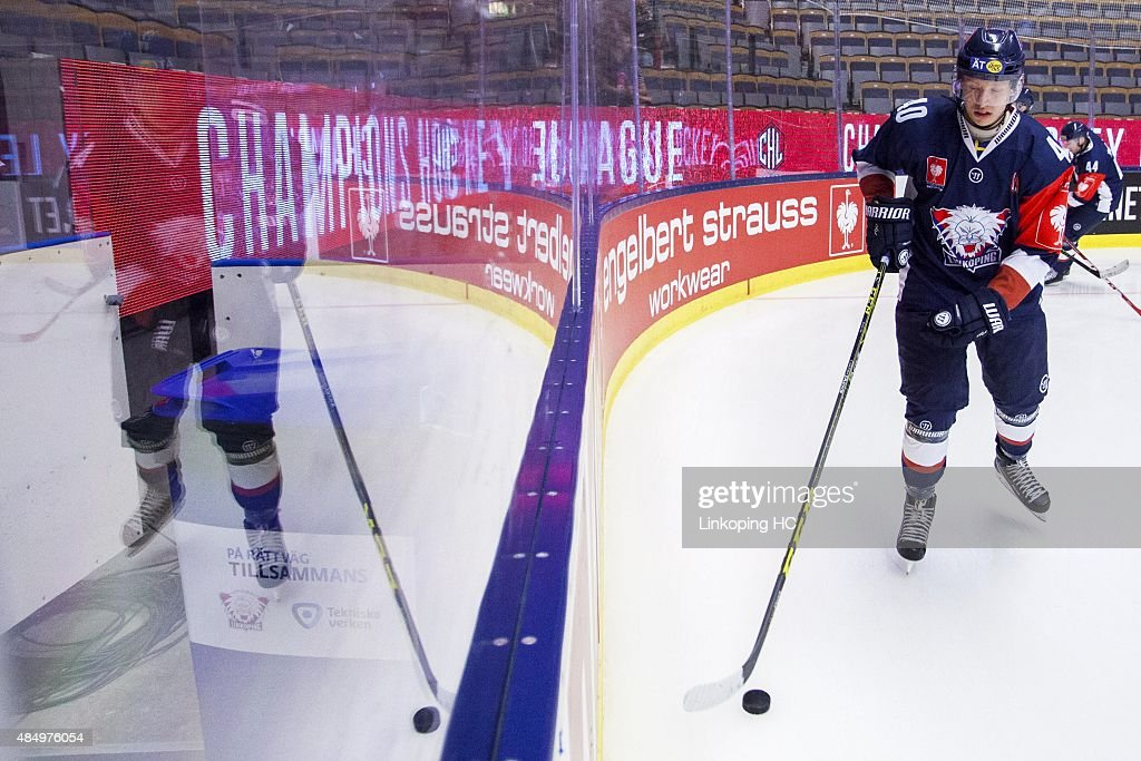 Linkoping HC's Vilmos Gallo during the warm-up before the Champions Hockey League group stage game between Linkoping HC and SC Bern on August 23, 2015 in Linkoping, Sweden.