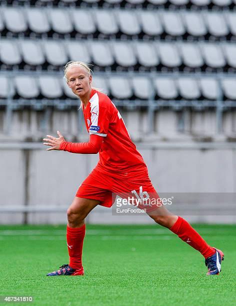 Linkopings FC's forward Pernille Harder in action during the UEFA Women's Champions League quarterfinal match between Linkopings FC and Brondby IF at...