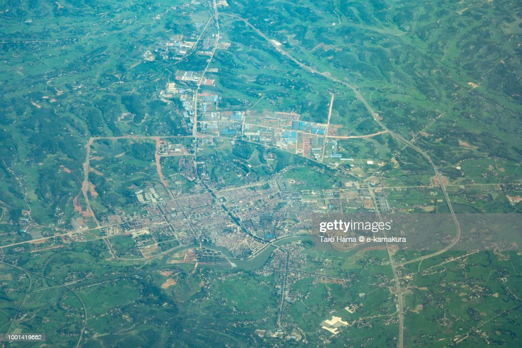 Linli County in Hunan Province in China daytime aerial view from airplane : Stock-Foto