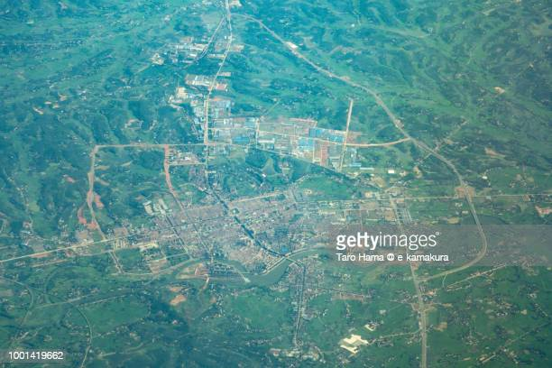 Linli County in Hunan Province in China daytime aerial view from airplane