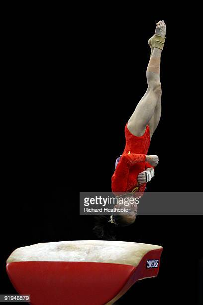 Linlin Deng of China competes in the vault event during the Women's All Round Final on the fourth day of the Artistic Gymnastics World Championships...