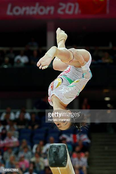 Linlin Deng of China competes on the Artistic Gymnastics Women's Beam final on Day 11 of the London 2012 Olympic Games at North Greenwich Arena on...