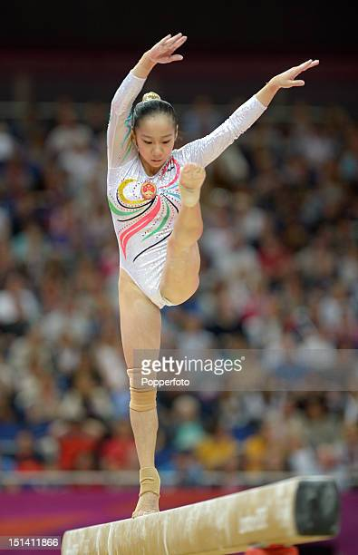 Linlin Deng of China competes on the beam during the Artistic Gymnastics Women's Beam final on Day 11 of the London 2012 Olympic Games at North...