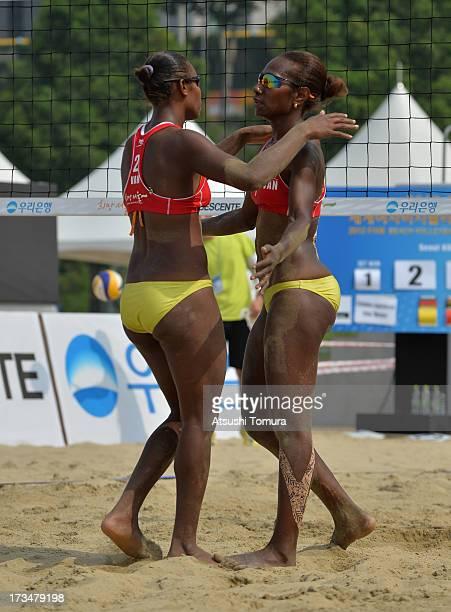 Linline Matauatu and Joyce Joshua of Vanuatu celberates a point at the AulenbrockTillmann v JoshuaMatauatu during day three of the FIVB Seoul Women's...