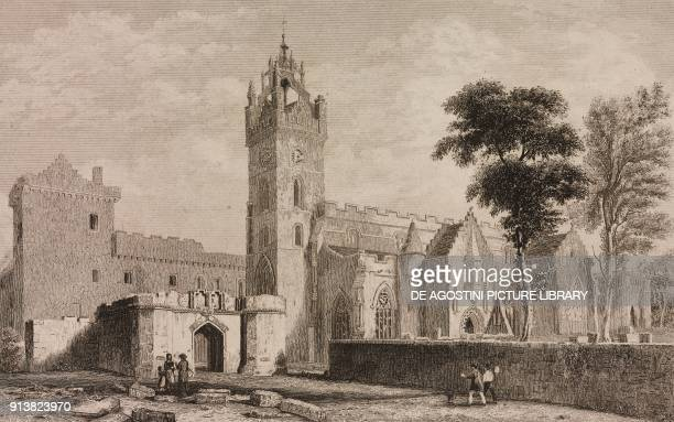 Linlithgow Palace Scotland United Kingdom engraving by Lemaitre from Angleterre Ecosse et Irlande Volume IV by Leon Galibert and Clement Pelle...