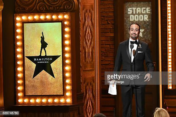 """Lin-Manuel Miranda accepts the award for Best Score of a Musical for """"Hamilton"""" onstage during the 70th Annual Tony Awards at The Beacon Theatre on..."""