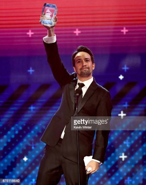 LinManuel Miranda accepts the President's Merit Award onstage at the 18th Annual Latin Grammy Awards at MGM Grand Garden Arena on November 16 2017 in...