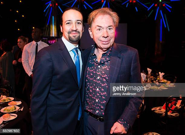 LinManuel Miranda and Andrew Lloyd Webber attend Tony Awards 2016 Luncheon at Diamond Horseshoe on May 19 2016 in New York City
