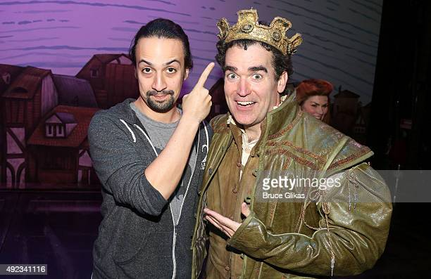 LinManuel Miranda and Brian d'Arcy James pose backstage at the hit musical comedy Something Rotten on Broadwat at The St James Theater on October 11...