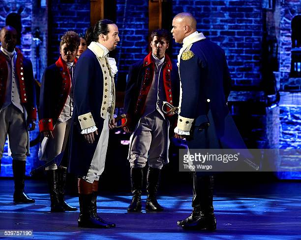 LinManuel Miranda and Christopher Jackson of 'Hamilton' perform onstage during the 70th Annual Tony Awards at The Beacon Theatre on June 12 2016 in...