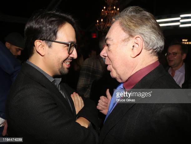 """Lin-Manuel Miranda and Composer Andrew Lloyd Webber chat at the after party for The World Premiere of the new film """"Cats"""" based on the Andrew Lloyd..."""
