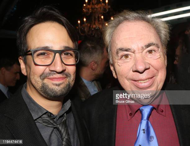 """Lin-Manuel Miranda and Composer Andrew Lloyd Webber pose at the after party for The World Premiere of the new film """"Cats"""" based on the Andrew Lloyd..."""