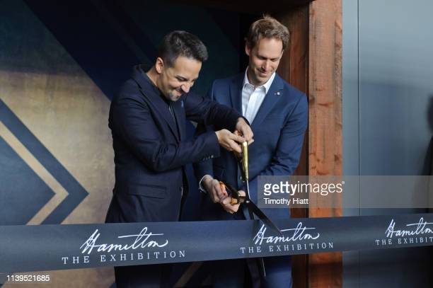 LinManuel Miranda and David Korins attend the Hamilton The Exhibition world premiere at Northerly Island on April 26 2019 in Chicago Illinois