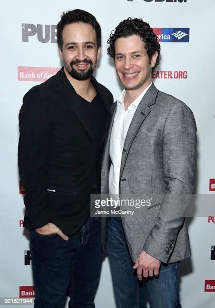 LinManuel Miranda and director Thomas Kail attend the Kings Opening Night at The Public Theater on February 20 2018 in New York City