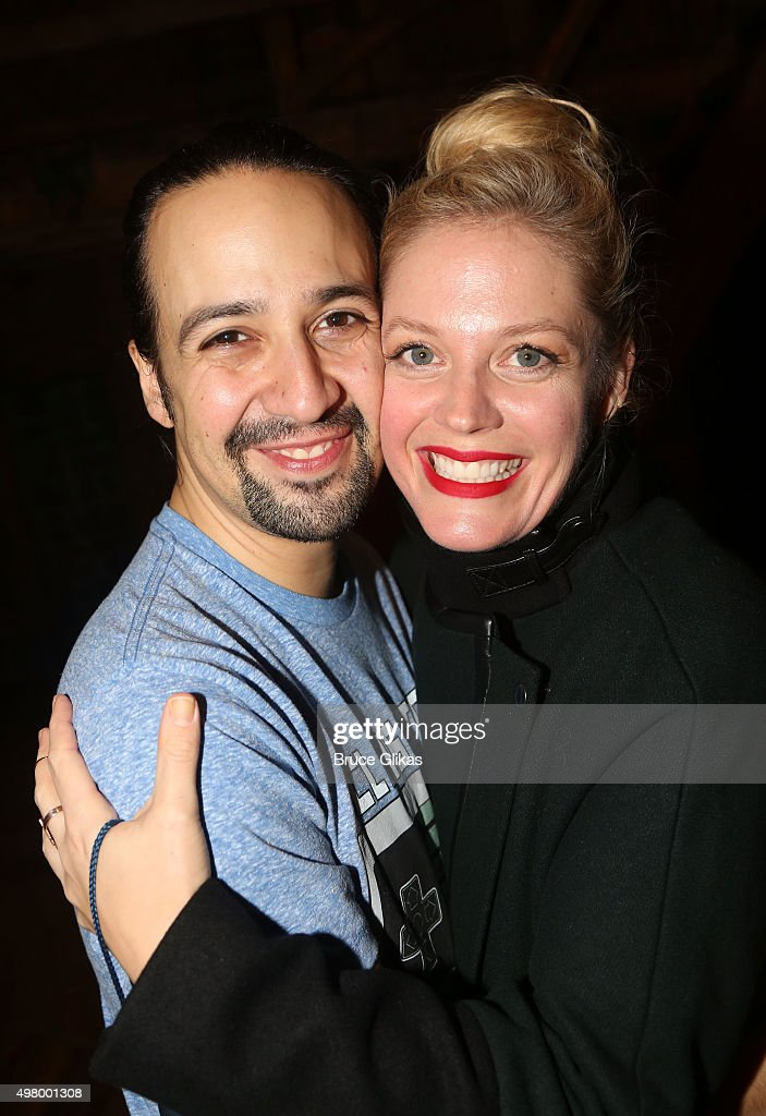 Lin-Manuel Miranda and Elizabeth Stanley pose backstage at the hit musical 'Hamilton' on Broadway at The Richard Rogers Theater on November 19, 2015 in New York City.