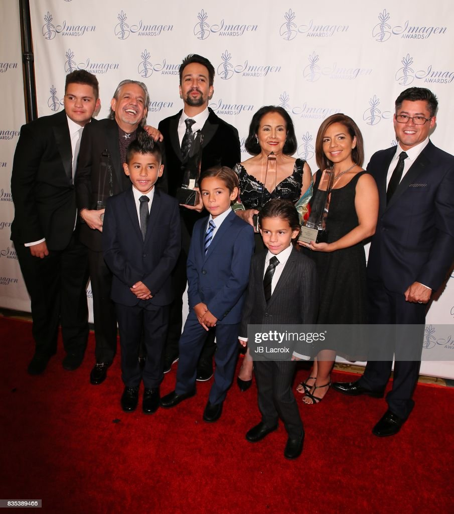 Lin-Manuel Miranda (C) and his family attend the 32nd annual Imagen Awards on August 18, 2017 in Los Angeles, California.