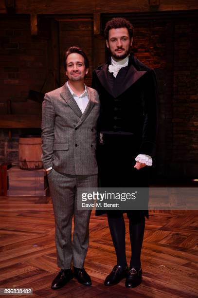 LinManuel Miranda and Jamael Westman during the curtain call of the press night performance of Hamilton at The Victoria Palace Theatre on December 21...