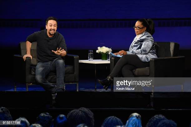 LinManuel Miranda and Oprah speak onstage during 'Oprah's Super Soul Conversations' at The Apollo Theater on February 7 2018 in New York City
