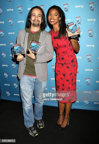 LinManuel Miranda and Renee Elise Goldsberry attend 2016 Broadwaycom Audience Choice Awards Reception at 48 Lounge on May 10 2016 in New York City