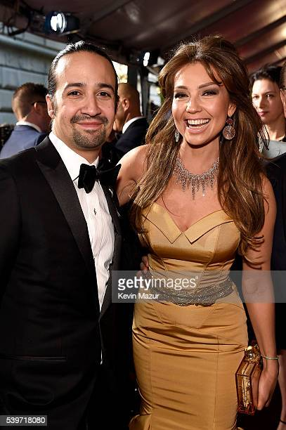 LinManuel Miranda and Thalia attend the 70th Annual Tony Awards at The Beacon Theatre on June 12 2016 in New York City