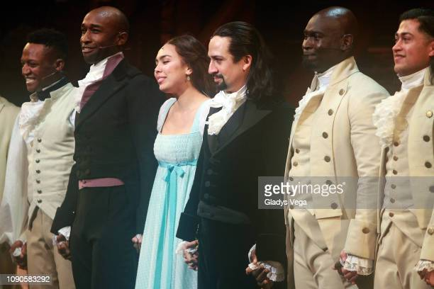 "Lin-Manuel Miranda and the cast of ""Hamilton"" at the end of their performance during the closing night of ""Hamilton"" at Centro de Bellas Artes on..."