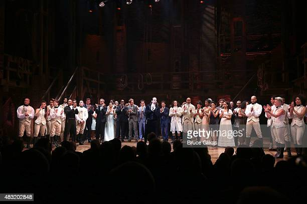 LinManuel Miranda and the cast of 'Hamilton' onstage during the curtain call of 'Hamilton' Broadway opening night at Richard Rodgers Theatre on...