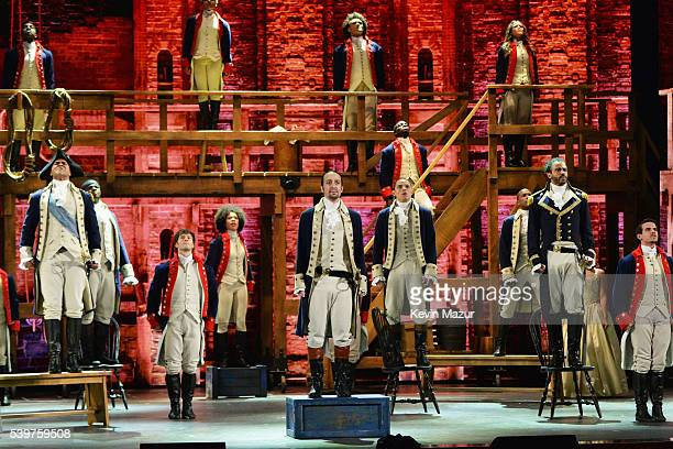LinManuel Miranda and the cast of 'Hamilton' perform onstage during the 70th Annual Tony Awards at The Beacon Theatre on June 12 2016 in New York City