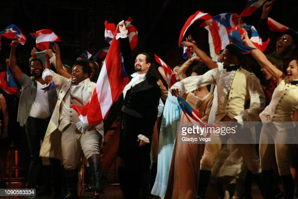 LinManuel Miranda and the cast of Hamilton say goodbye to the audience at the end of the performance during the closing night of Hamilton at Centro...
