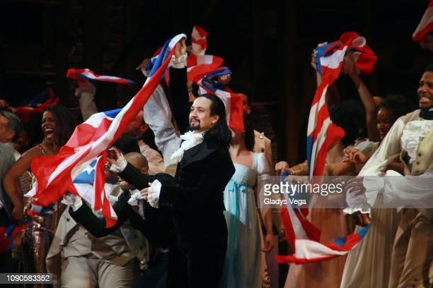 "Lin-Manuel Miranda and the cast of ""Hamilton"" say goodbye to the audience at the end of the performance during the closing night of ""Hamilton"" at..."