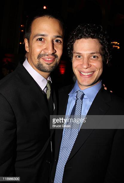 LinManuel Miranda and Thomas Kail attend the party following the 65th Annual Tony Awards at The Plaza Hotel on June 12 2011 in New York City
