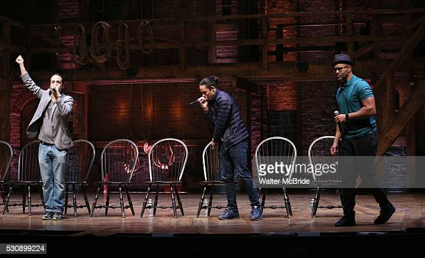 Lin-Manuel Miranda, Anthony Ramos and Christopher Jackson speak thirteen hundred students from New York City public schools gathered for a 'Hamilton'...