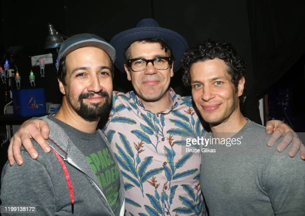 LinManuel Miranda Anthony Veneziale and Director Thomas Kail pose backstage at the closing night performance of the improvised Rap and HipHop musical...