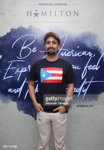 LinManuel Miranda attends a meet and greet as American Express Celebrates The Opening Weekend Of Hamilton on January 12 2019 in San Juan Puerto Rico
