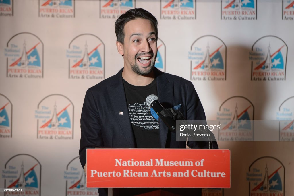 Lin-Manuel Miranda attends a press conference highlighting the needs of Puerto Rico and the impact of Chicago's humanitarian efforts for the island at National Museum Of Puerto Rican Arts & Culture on November 1, 2017 in Chicago, Illinois.