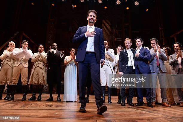 """Lin-Manuel Miranda attends the curtain call for """"Hamilton"""" Chicago opening night at PrivateBank Theatre on October 19, 2016 in Chicago, Illinois."""
