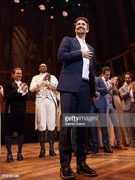 Lin-Manuel Miranda attends the curtain call for 'Hamilton' Chicago opening night at PrivateBank Theatre on October 19, 2016 in Chicago, Illinois.