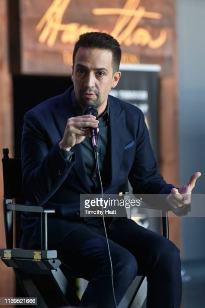LinManuel Miranda attends the Hamilton The Exhibition world premiere at Northerly Island on April 26 2019 in Chicago Illinois