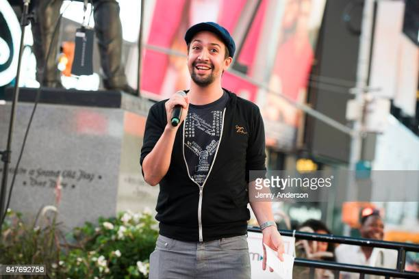 LinManuel Miranda attends Viva Broadway to kick off Hispanic Heritage Month at Duffy Square in Times Square on September 15 2017 in New York City