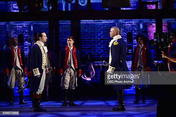 LinManuel Miranda Christopher Jackson and the cast of Hamilton at THE 70TH ANNUAL TONY AWARDS live from the Beacon Theatre in New York City Sunday...