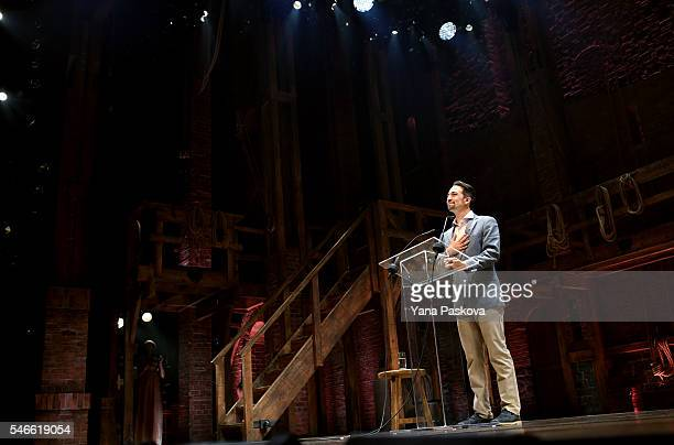 S LinManuel Miranda creator of the Broadway musical Hamilton introduces Democratic presidential candidate Hillary Clinton after a special performance...