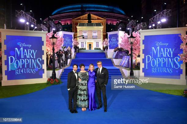 LinManuel Miranda Emily Mortimer Emily Blunt and Colin Firth attend the European Premiere of Mary Poppins Returns at Royal Albert Hall on December 12...