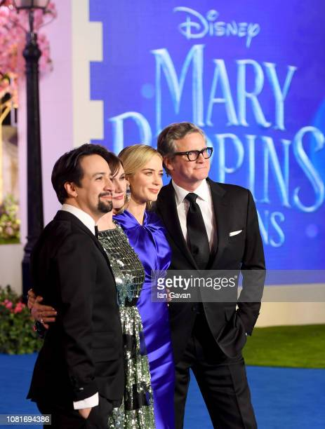 LinManuel Miranda Emily Mortimer Emily Blunt and Colin Firth attend the Mary Poppins Returns European Premiere at the Royal Albert Hall on December...