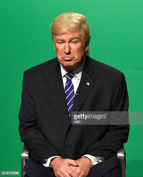 LIVE LinManuel Miranda Episode 1706 Pictured Alec Baldwin as Republican Prudential Candidate Donald Trump during the VP Debate Cold Open sketch on...
