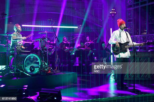 LIVE LinManuel Miranda Episode 1706 Pictured Josh Dun and Tyler Joseph from musical guest Twenty One Pilots perform on October 8 2016