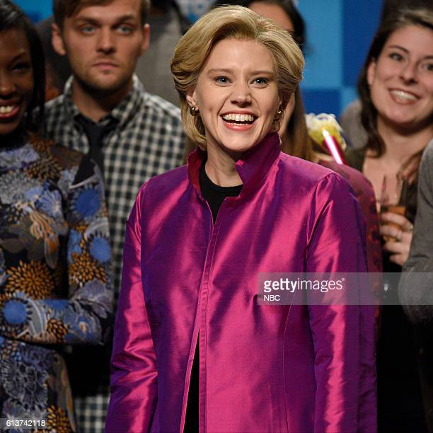 LIVE LinManuel Miranda Episode 1706 Pictured Kate McKinnon as Democratic Presidential Candidate Hillary Clinton during the VP Debate Cold Open sketch...