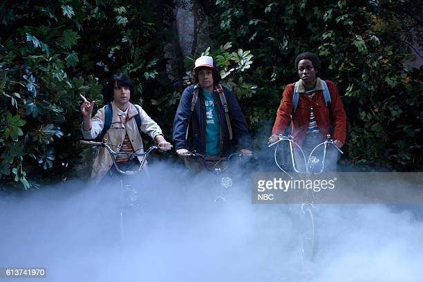 "Lin-Manuel Miranda"" Episode 1706 -- Pictured: Kyle Mooney as Mike, Lin-Manuel Miranda as Dustin, and Sasheer Zamata as Lucas during the ""Stranger..."