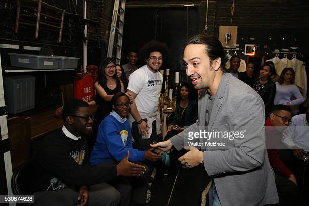 LinManuel Miranda greets students backstage as thirteen hundred students from New York City public schools gathered for a 'Hamilton' matinee...