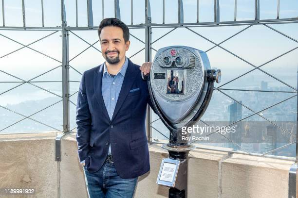 LinManuel Miranda lights the Empire State Building blue in support of Small Business Saturday at The Empire State Building on November 25 2019 in New...